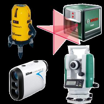 レーザー墨出し器、レーザー距離計、デジタルセオドライト